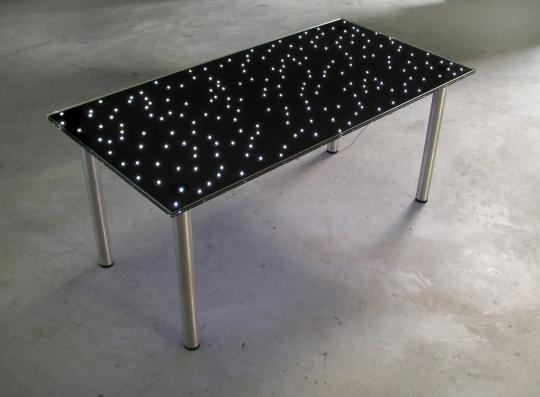 Mesa Starfield con tablero de la mesa de cristal, luces LED integradas.