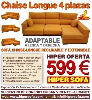 Sofá Chaise Longue 4 plazas reclinable y extensible - Hipersofa