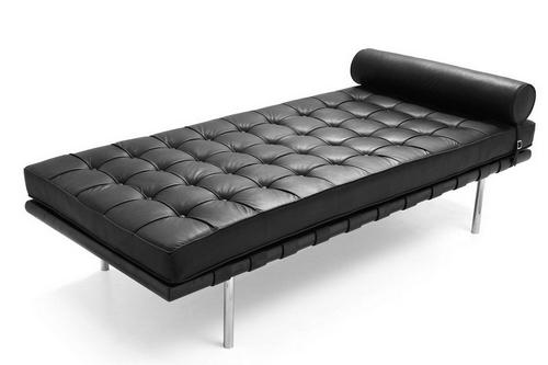 Day Bed BARCELONA, acero inoxidable, piel negra