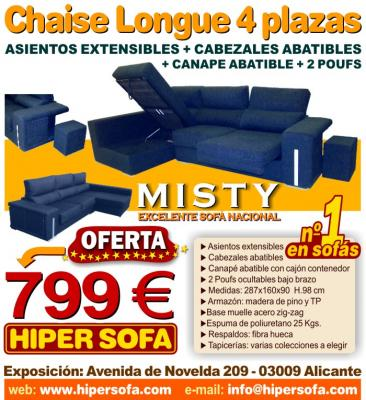 Sofa Chaise Longue MISTY 4 PLAZAS