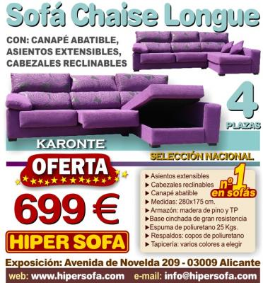 Sofa Chaise Longue KARONTE 4 plazas