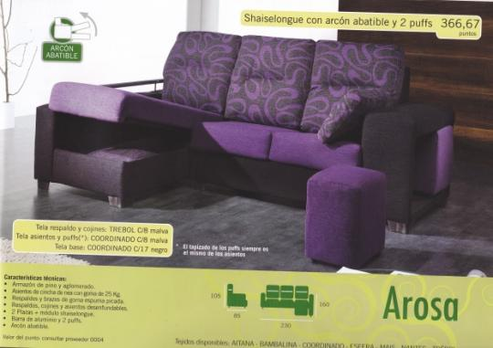 Shaiselongue con arcón abatible y 2 puffs