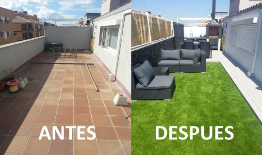 Decorar terraza cesped artificial - Cesped artificial en terrazas ...